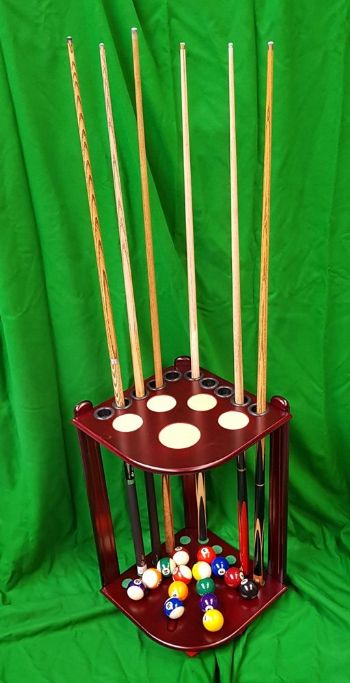 CORNER MAHOGANY WOOD 10 CUE RACK STICK STAND SNOOKER POOL TABLE BALL REST HOLDER 2nds QUALITY